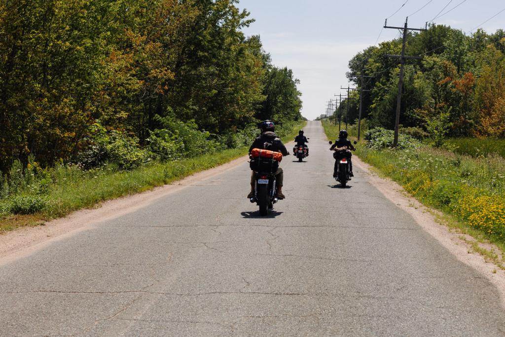bikes along small road