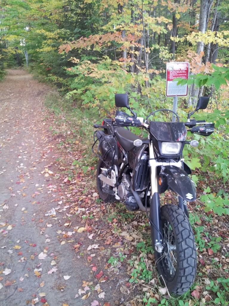 On the snowmobile trails in Autumn on a Suzuki drz 400